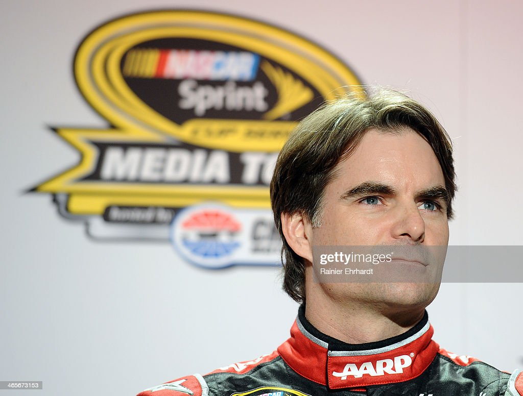 <a gi-track='captionPersonalityLinkClicked' href=/galleries/search?phrase=Jeff+Gordon&family=editorial&specificpeople=171491 ng-click='$event.stopPropagation()'>Jeff Gordon</a>, driver of the #24 Drive to End Hunger Chevrolet, speaks to the media during the NASCAR Sprint Media Tour at Charlotte Convention Center on January 28, 2014 in Charlotte, North Carolina.