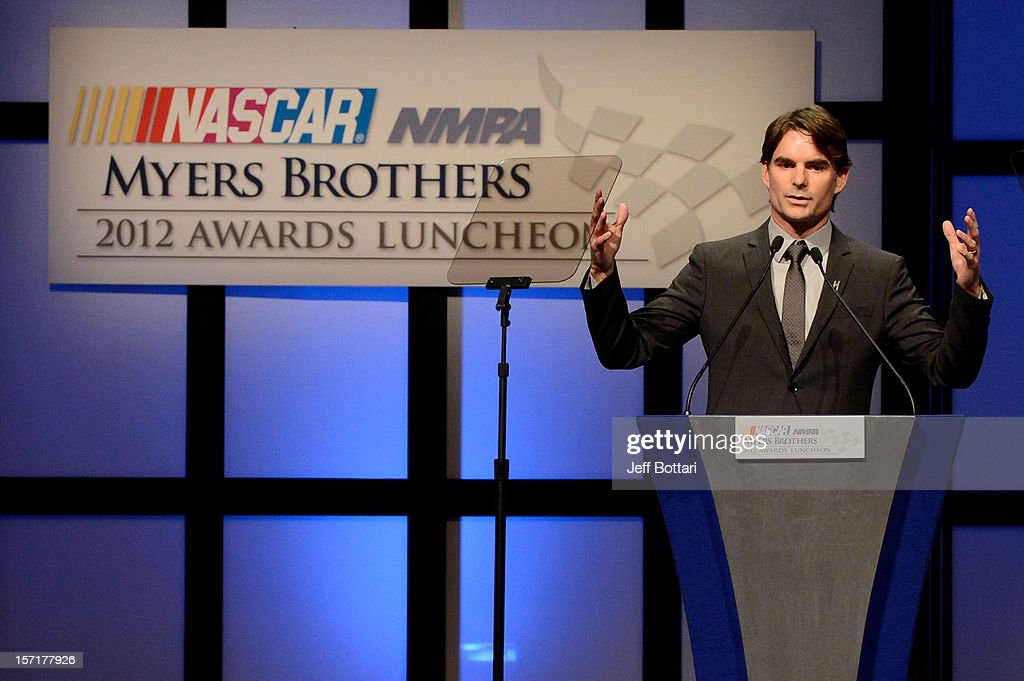 <a gi-track='captionPersonalityLinkClicked' href=/galleries/search?phrase=Jeff+Gordon&family=editorial&specificpeople=171491 ng-click='$event.stopPropagation()'>Jeff Gordon</a>, driver of the #24 DuPont 20 Years Celebratory Chevrolet, speaks after winning the Myers Brothers Award during the NASCAR NMPA Myers Brothers Awards Luncheon at Encore Las Vegas on November 29, 2012 in Las Vegas, Nevada.