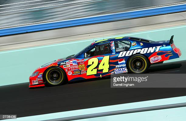 Jeff Gordon driver of the DuPont Chevrolet during qualifying for the NASCAR Winston Cup Ford 400 on November14 2003 at HomesteadMiami Superspeedway...