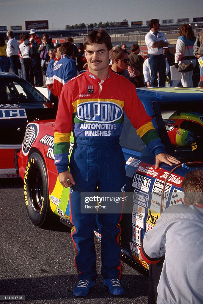 <a gi-track='captionPersonalityLinkClicked' href=/galleries/search?phrase=Jeff+Gordon&family=editorial&specificpeople=171491 ng-click='$event.stopPropagation()'>Jeff Gordon</a> driver of the #24 DuPont Chevrolet gets ready for his first NASCAR Cup race in he Hooters 500 at the Atlanta Motor Speedway on November 15, 1992 in Hampton, Georgia.