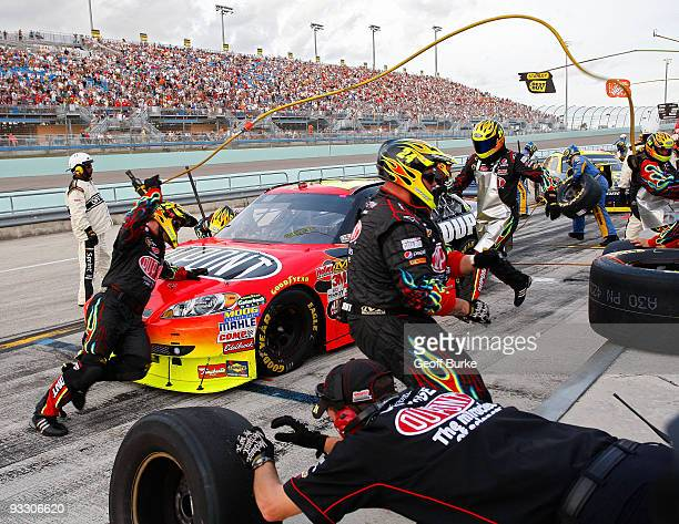 Jeff Gordon driver of the DuPont Chevrolet pits during the NASCAR Sprint Cup Series Ford 400 at HomesteadMiami Speedway on November 22 2009 in...