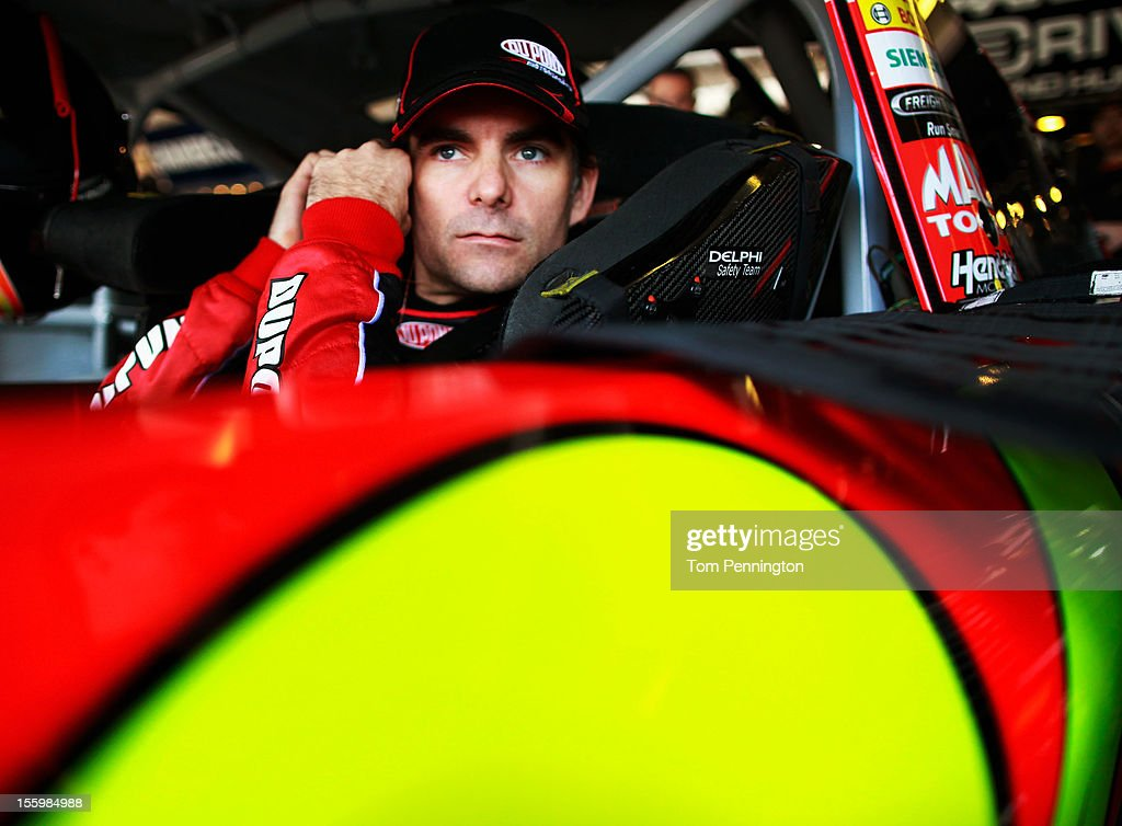<a gi-track='captionPersonalityLinkClicked' href=/galleries/search?phrase=Jeff+Gordon&family=editorial&specificpeople=171491 ng-click='$event.stopPropagation()'>Jeff Gordon</a>, driver of the #24 DuPont Chevrolet, sits in his car during practice for the NASCAR Sprint Cup Series AdvoCare 500 at Phoenix International Raceway on November 10, 2012 in Avondale, Arizona.
