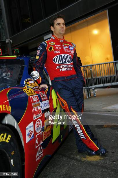 Jeff Gordon driver of the DuPont Chevrolet stands next to his car prior to a Victory Lap in Times Square on November 29 2006 in New York City