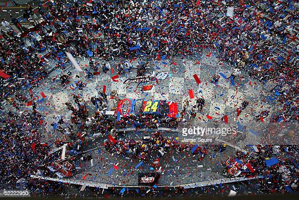 Jeff Gordon driver of the Hendrick Motorsports Chevrolet celebrates in Victory Lane after winning the NASCAR Nextel Cup Daytona 500 on February 20...