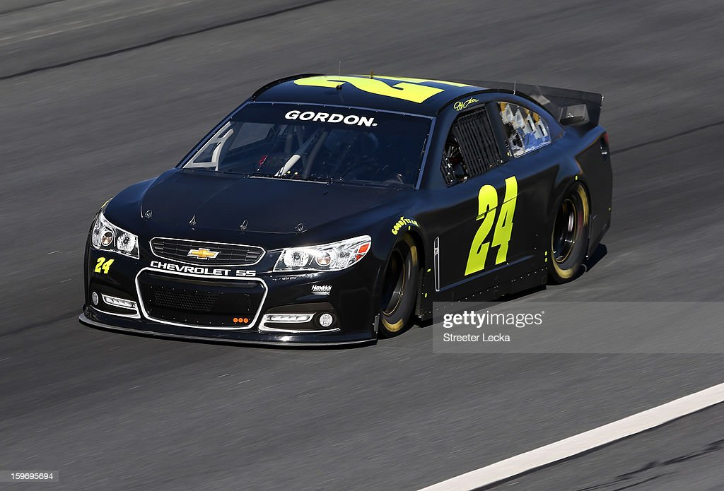 Jeff Gordon, driver of the #24 Hendrick Motorsports Chevrolet, in action during NASCAR Testing at Charlotte Motor Speedway on January 18, 2013 in Charlotte, North Carolina.