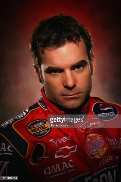Jeff Gordon driver of the Hendrick Motorsports Chevrolet poses during Media Day for the NASCAR Nextel Cup Daytona 500 on February 10 2005 at the...