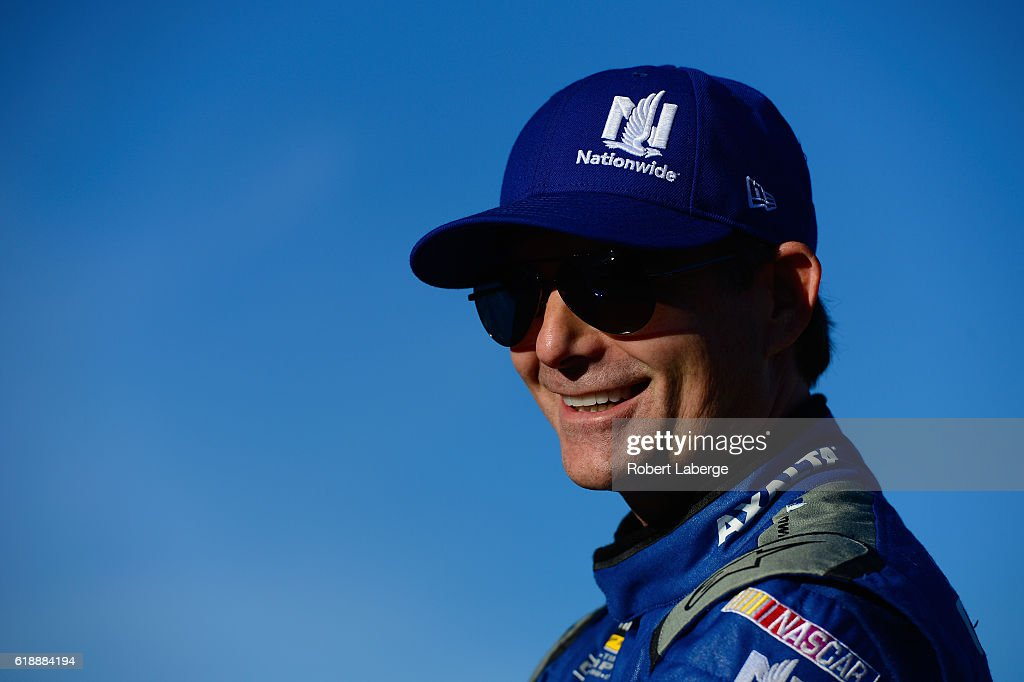 Jeff Gordon, driver of the #88 Nationwide Chevrolet, stands on the grid prior to qualifying for the NASCAR Sprint Cup Series Goody's Fast Relief 500 at Martinsville Speedway on October 28, 2016 in Martinsville, Virginia.