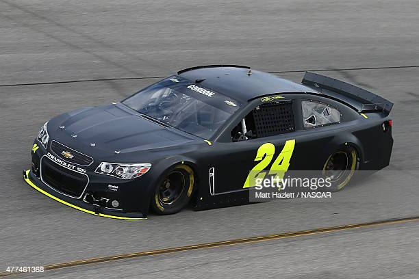 Jeff Gordon driver of the Panasonic Chevrolet drives on the track during NASCAR testing at Richmond International Raceway on June 17 2015 in Richmond...