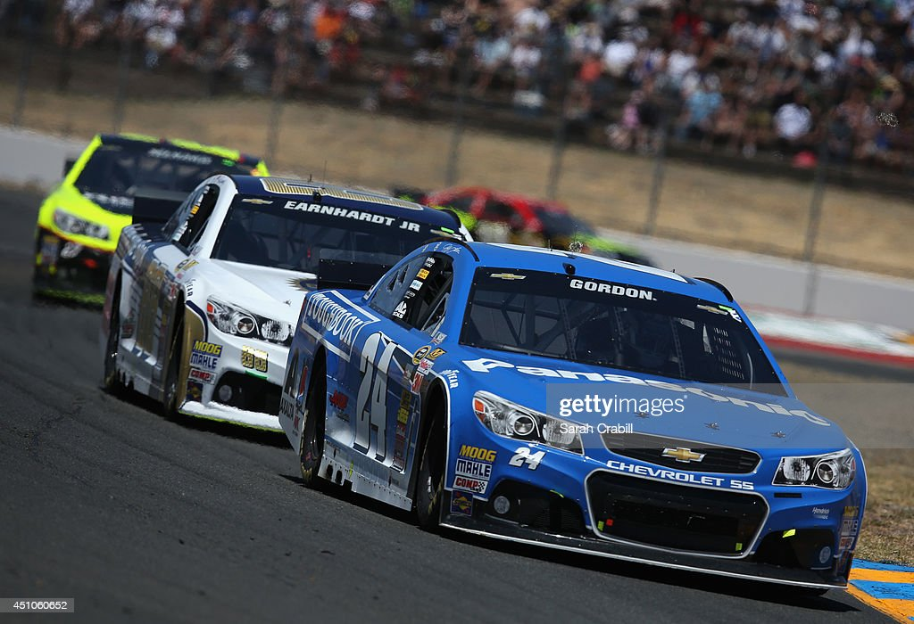 Jeff Gordon driver of the Panasonic Chevrolet leads a pack of cars during the NASCAR Sprint Cup Series Toyota/Save Mart 350 at Sonoma Raceway on June...