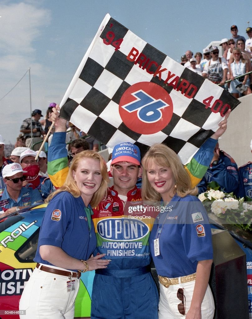 <a gi-track='captionPersonalityLinkClicked' href=/galleries/search?phrase=Jeff+Gordon&family=editorial&specificpeople=171491 ng-click='$event.stopPropagation()'>Jeff Gordon</a> in victory lane at the Indianapolis Motor Speedway after he won the inaugural Brickyard 400 NASCAR Cup race on August 6, 1994 at the Indianapolis Motor Speedway in Indianapolis, Indiana.