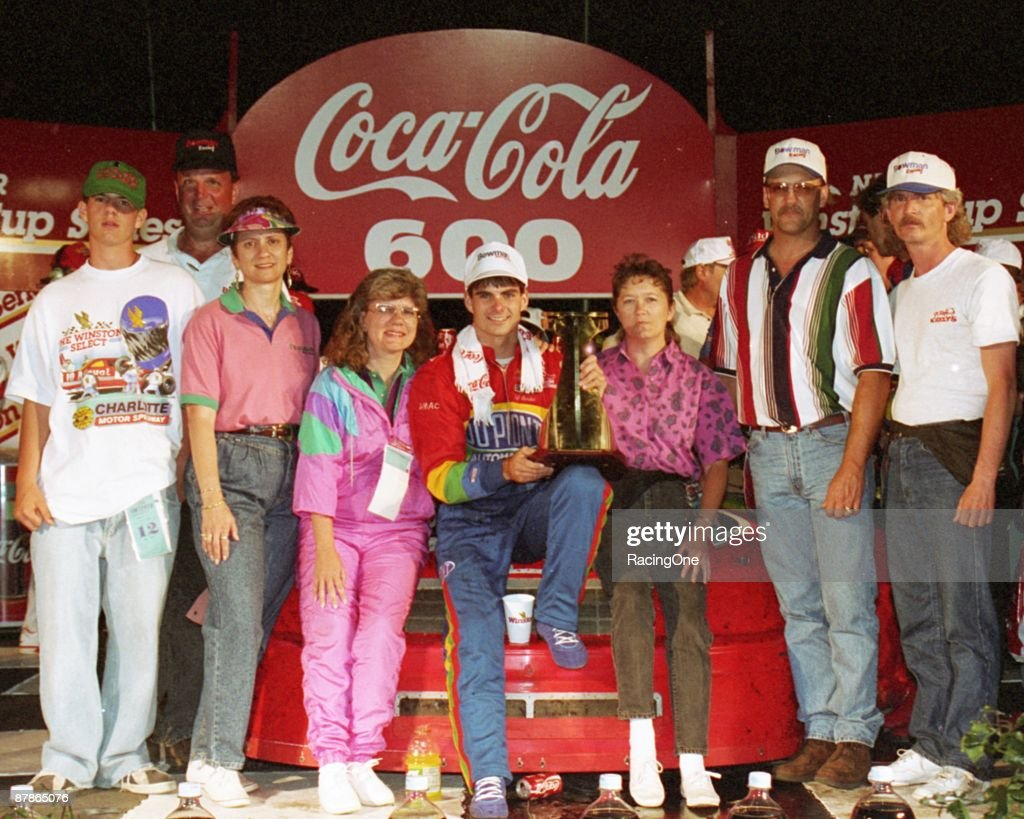 Jeff Gordon in victory lane following the Coca-Cola 600 on May 29, 1994 in Charlotte, North Carolina. The 22-year-old's first NASCAR Cup Series win.