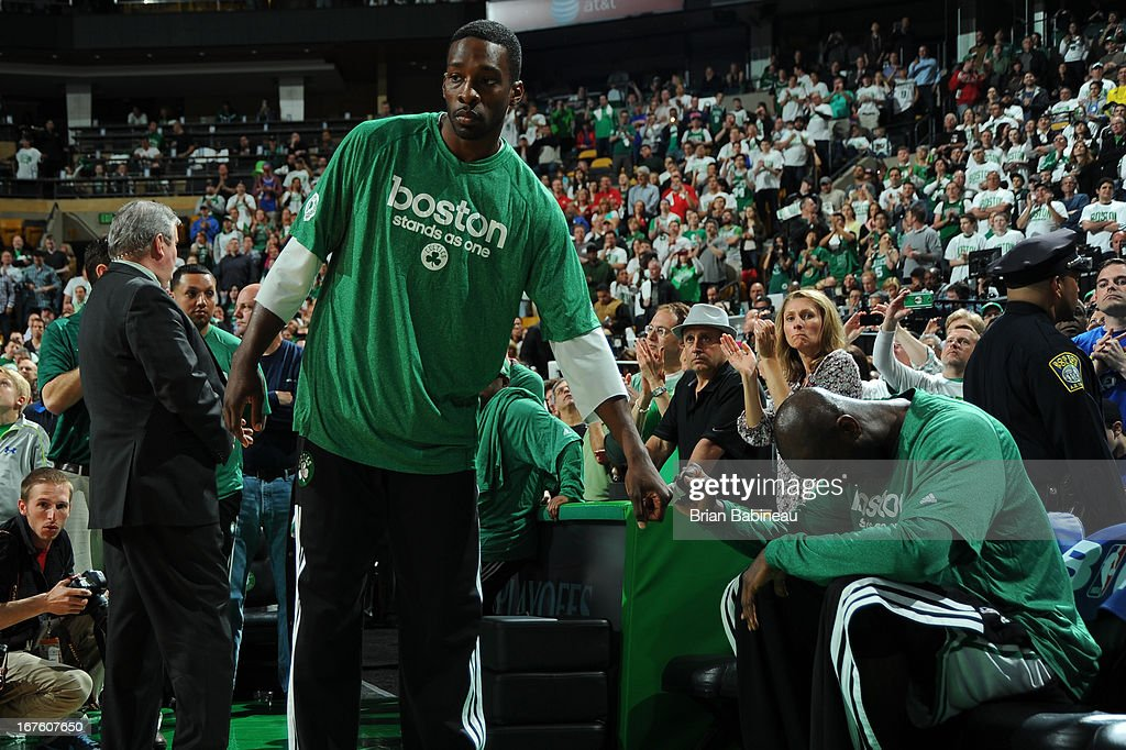 Jeff Green #8 and Kevin Garnett #5 of the Boston Celtics fist bump before the game against the New York Knicks during Game Three of the Eastern Conference Quarterfinals on April 26, 2013 at the TD Garden in Boston, Massachusetts.