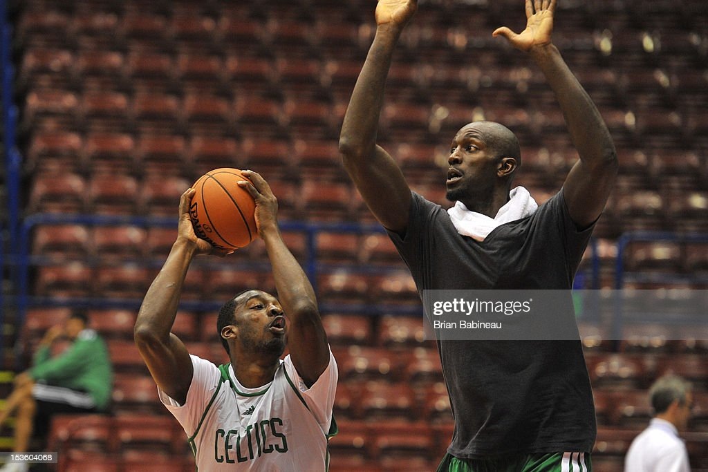 Jeff Green and Kevin Garnett of the Boston Celtics practice during the morning shoot around on October 7, 2012 at Mediolanum Forum in Milan, Italy.