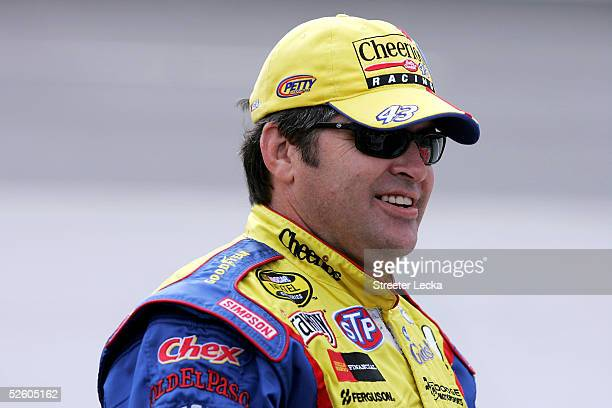 Jeff Green driver of the Cheerios/Betty Crocker Chevrolet prepares for NASCAR NEXTEL Cup Advance Auto Parts 500 qualifying on April 8 2005 at...
