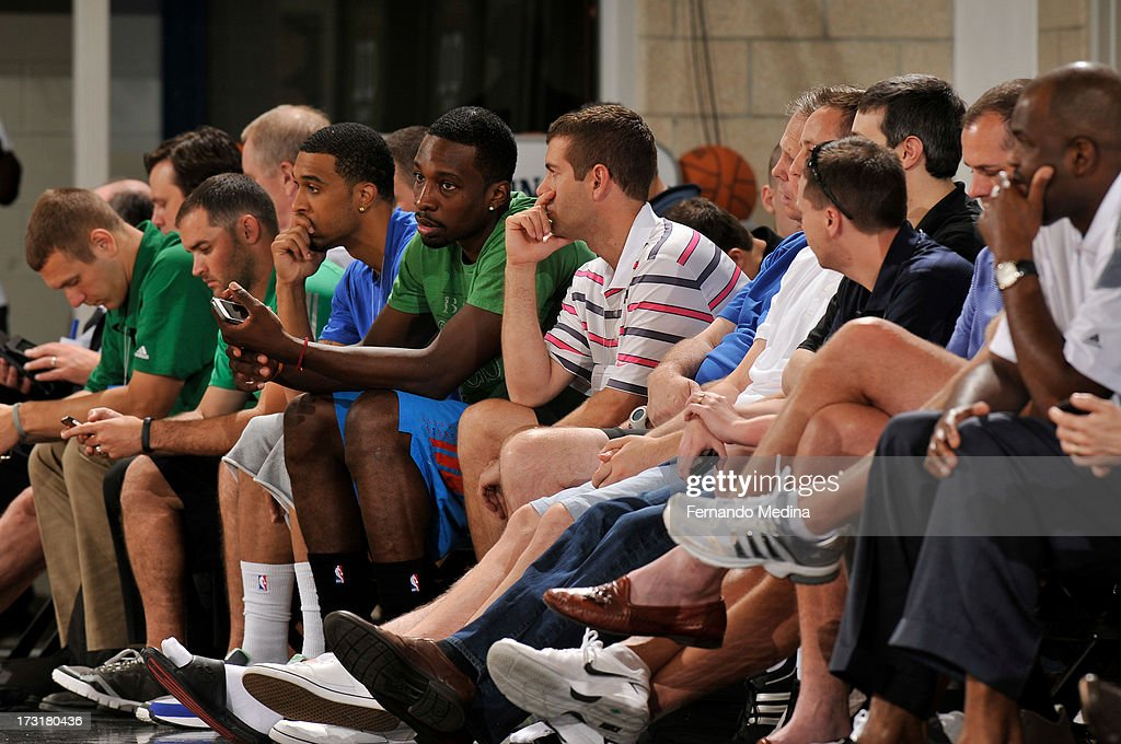 Jeff Green listens to Head Coach Brad Stevens of the Boston Celtics during the game against the Indiana Pacers during the 2013 Southwest Airlines Orlando Pro Summer League on July 9, 2013 at Amway Center in Orlando, Florida.NOTE