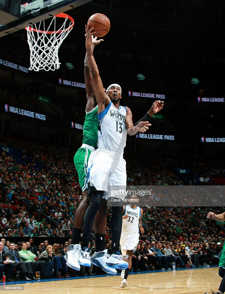 Jeff Green #8 of the Boston Celtics blocks a shot against <a gi-track='captionPersonalityLinkClicked' href=/galleries/search?phrase=Corey+Brewer&family=editorial&specificpeople=234749 ng-click='$event.stopPropagation()'>Corey Brewer</a> #13 of the Minnesota Timberwolves during the NBA pre-season game at the Bell Centre on October 20, 2013 in Montreal, Quebec, Canada.