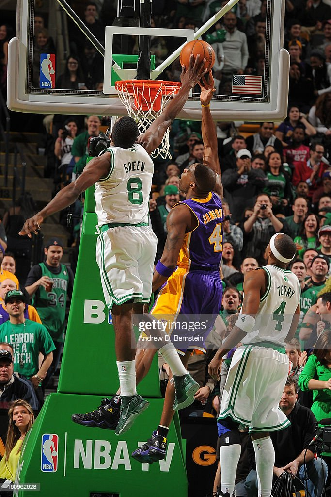 Jeff Green #8 of the Boston Celtics blocks a shot attempt by Antawn Jamison #4 of the Los Angeles Lakers on February 7, 2013 at the TD Garden in Boston, Massachusetts.