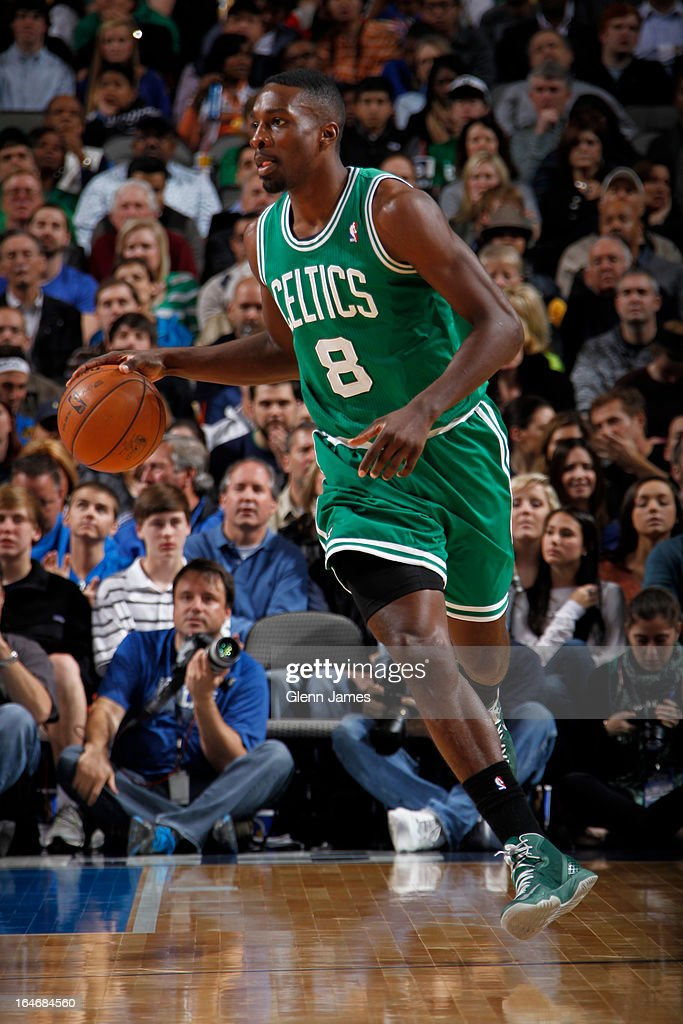 Jeff Green #8 of the Boston Celtics brings the ball up court against the Dallas Mavericks on March 22, 2013 at the American Airlines Center in Dallas, Texas.