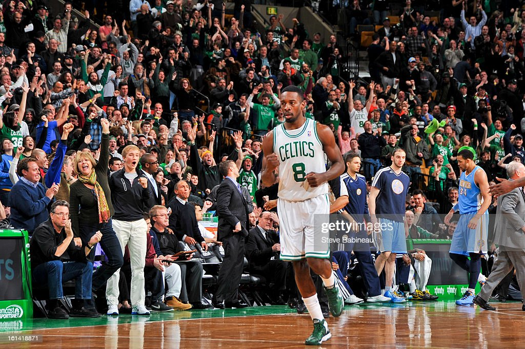 Jeff Green #8 of the Boston Celtics celebrates after making a three-pointer in overtime against the Denver Nuggets on February 10, 2013 at the TD Garden in Boston, Massachusetts.