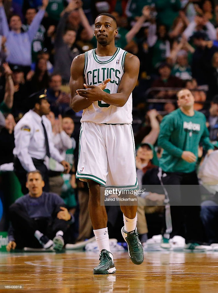 Jeff Green #8 of the Boston Celtics celebrates after making a three-point shot against the Detroit Pistons in the second half during the game on April 3, 2013 at TD Garden in Boston, Massachusetts.