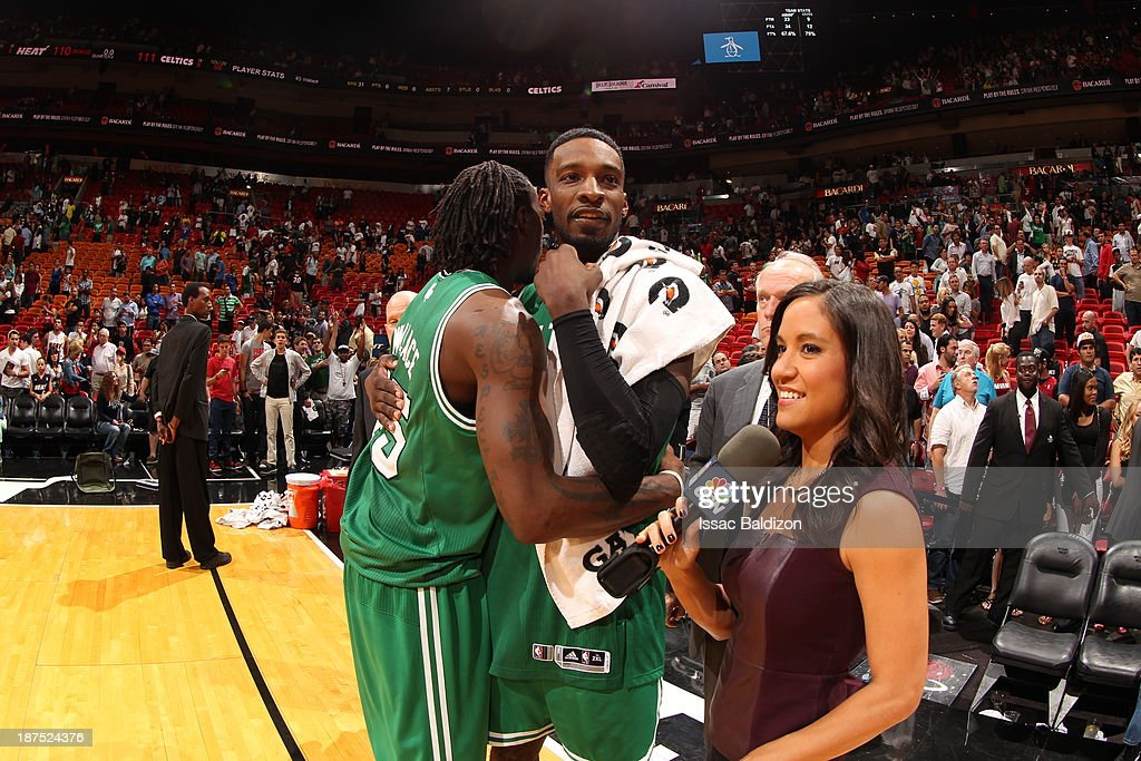 Jeff Green #8 of the Boston Celtics celebrates after the win against the Miami Heat on November 9, 2013 at American Airlines Arena in Miami, Florida.