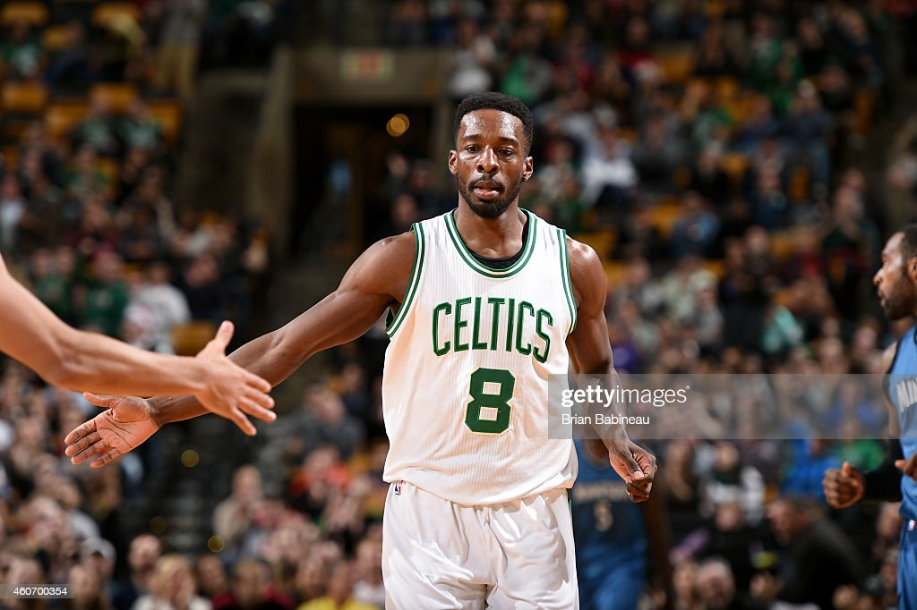 Jeff Green #8 of the Boston Celtics celebrates during a game against the Minnesota Timberwolves on December 19, 2014 at the TD Garden in Boston, Massachusetts.