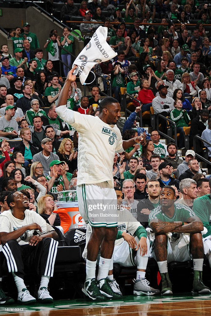 Jeff Green #8 of the Boston Celtics celebrates during the game against the Washington Wizards on April 7, 2013 at the TD Garden in Boston, Massachusetts.
