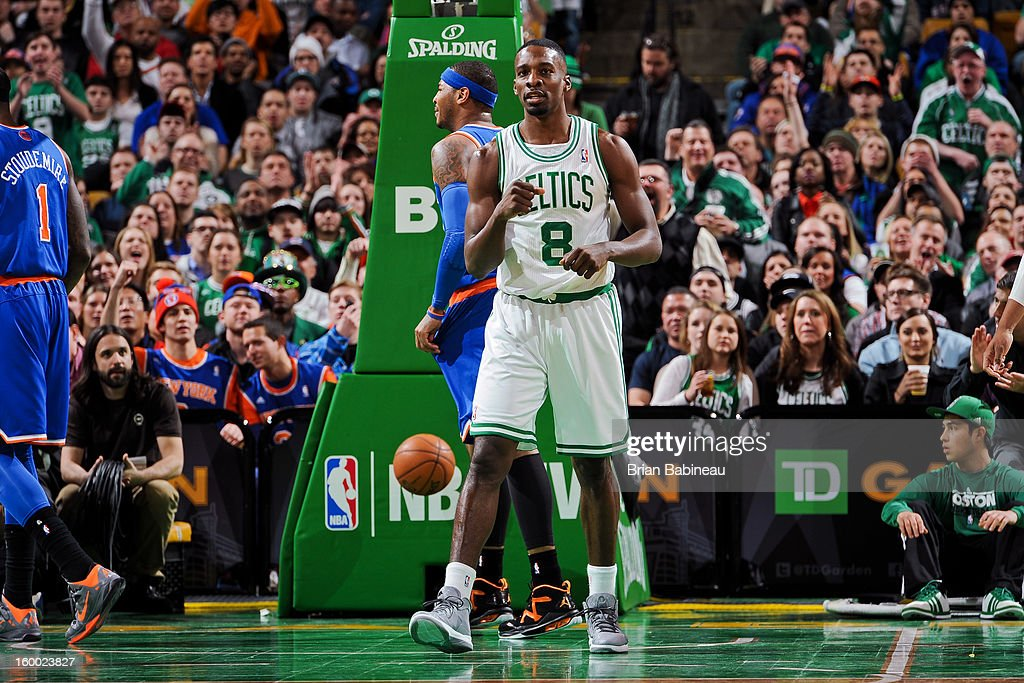Jeff Green #8 of the Boston Celtics celebrates while playing the New York Knicks on January 24, 2013 at the TD Garden in Boston, Massachusetts.