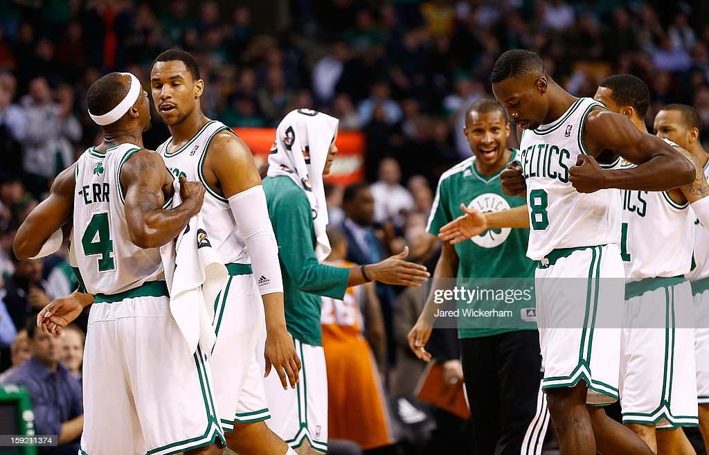 Jeff Green #8 of the Boston Celtics celebrates with teammate Jason Terry #4 after his back-to-back dunks against the Phoenix Suns in the first half during the game on January 9, 2013 at TD Garden in Boston, Massachusetts.