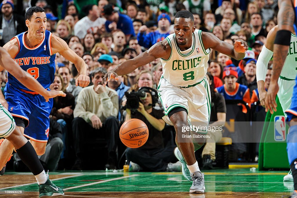 Jeff Green #8 of the Boston Celtics chases after a loose ball against Pablo Prigioni #9 of the New York Knicks on January 24, 2013 at the TD Garden in Boston, Massachusetts.