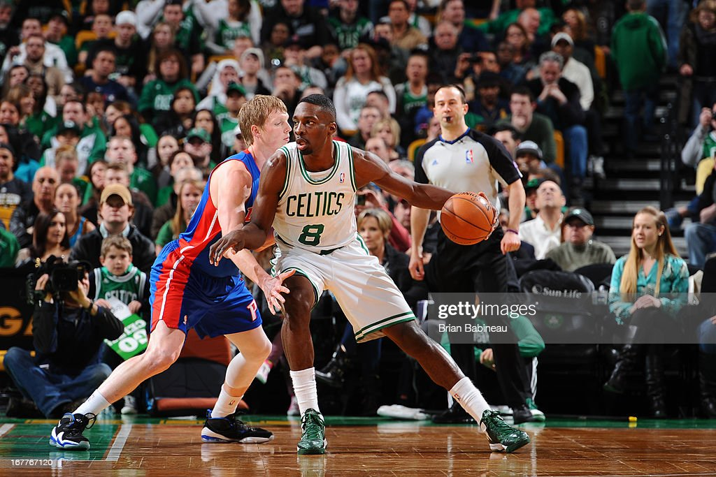 Jeff Green #8 of the Boston Celtics controls the ball against Kyle Singler #25 of the Detroit Pistons on April 3, 2013 at the TD Garden in Boston, Massachusetts.