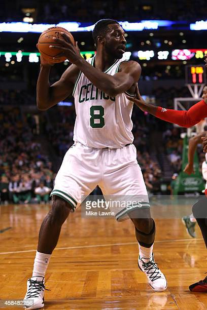 Jeff Green of the Boston Celtics controls the ball in the first half against the Toronto Raptors at TD Garden on November 5 2014 in Boston...