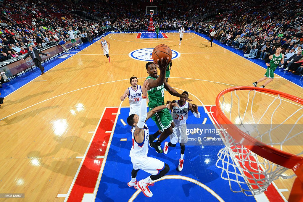 <a gi-track='captionPersonalityLinkClicked' href=/galleries/search?phrase=Jeff+Green+-+Basketballer&family=editorial&specificpeople=4218745 ng-click='$event.stopPropagation()'>Jeff Green</a> #8 of the Boston Celtics dribbles goes up for the layup against the Philadelphia 76ers on December 15, 2014 at Wells Fargo Center in Philadelphia, PA.