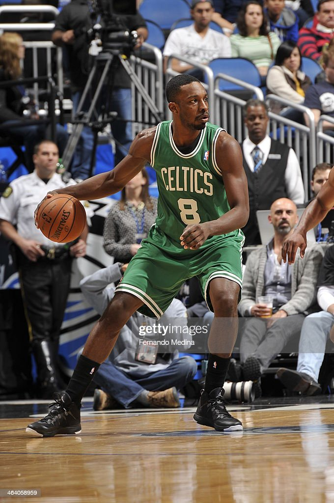 Jeff Green #8 of the Boston Celtics dribbles the ball against the Orlando Magic during the game on January 19, 2014 at Amway Center in Orlando, Florida.