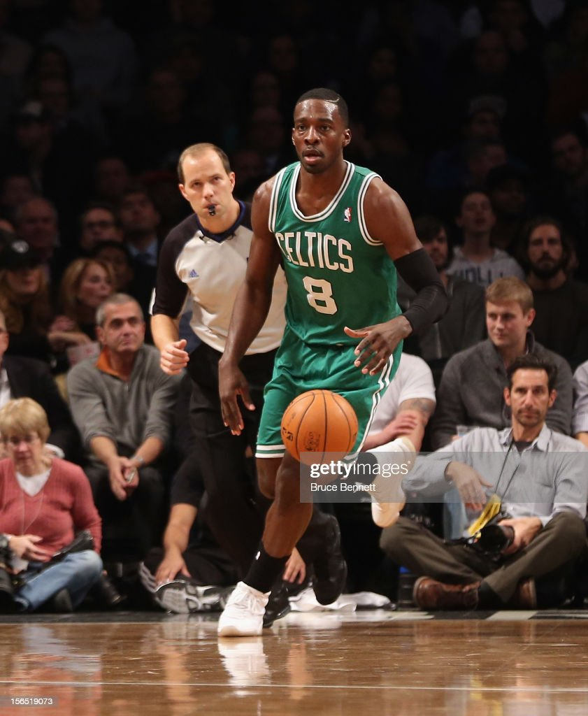 Jeff Green #8 of the Boston Celtics dribbles the ball against the Brooklyn Nets at the Barclays Center on November 15, 2012 in the Brooklyn borough of New York City.