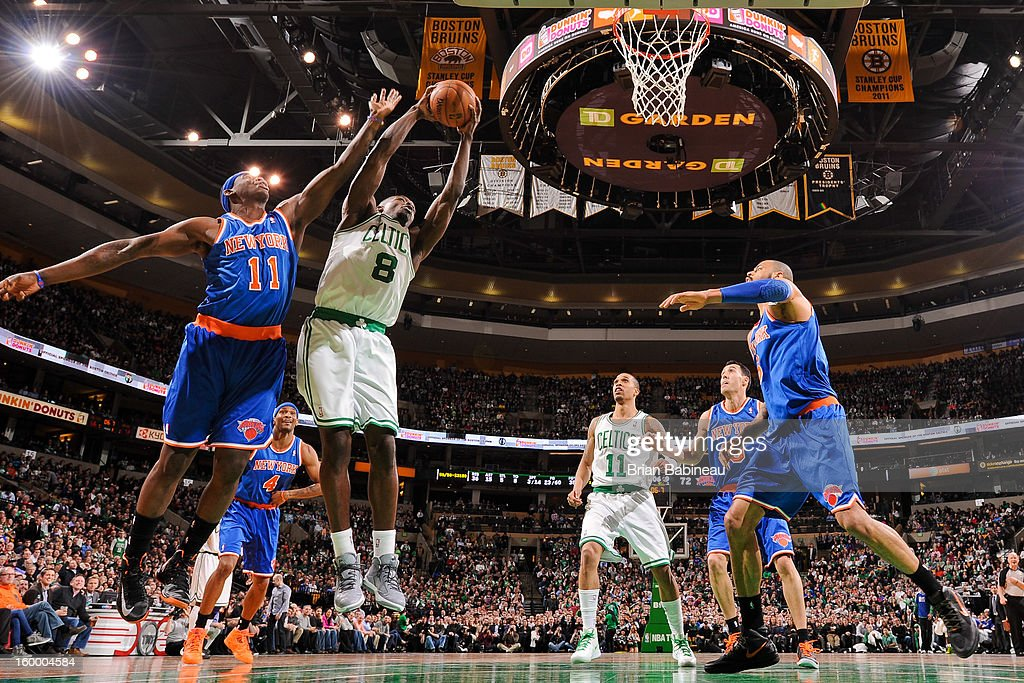 Jeff Green #8 of the Boston Celtics drives to the basket against Ronnie Brewer #11 of the New York Knicks on January 24, 2013 at the TD Garden in Boston, Massachusetts.