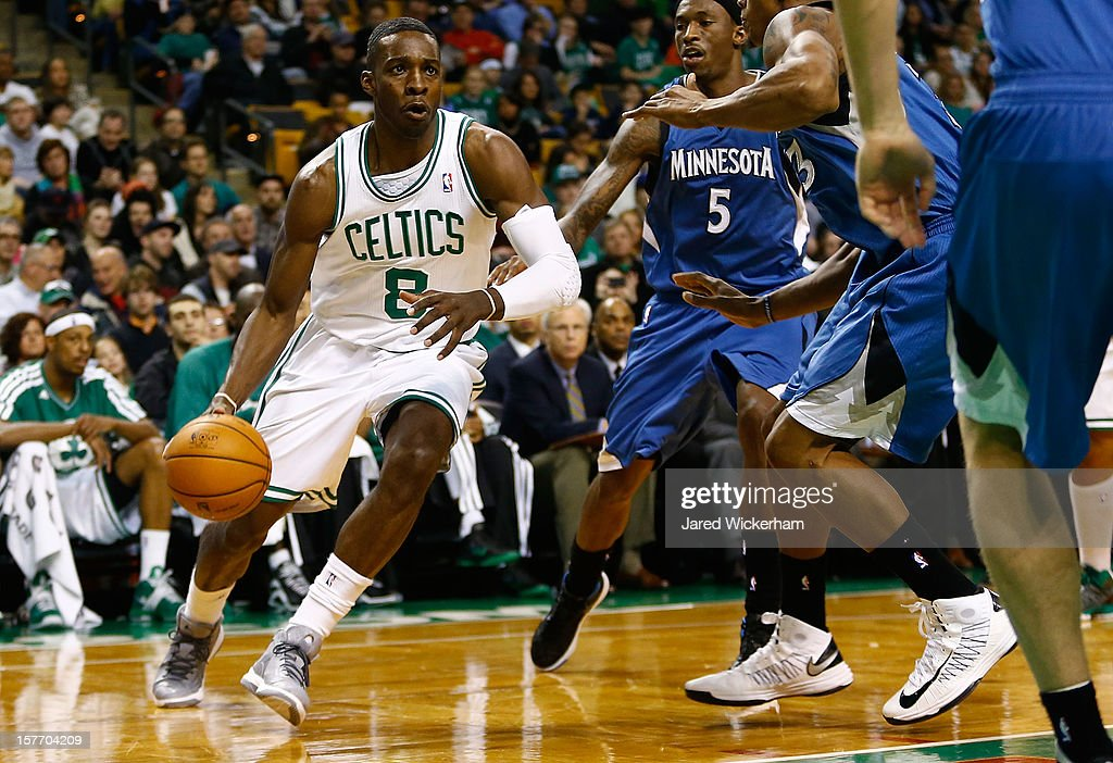 Jeff Green #8 of the Boston Celtics drives to the basket against the Minnesota Timberwolves during the game on December 5, 2012 at TD Garden in Boston, Massachusetts.