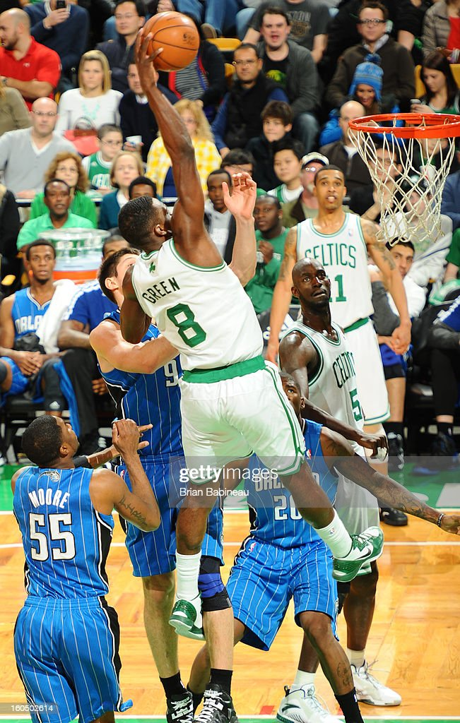 Jeff Green #8 of the Boston Celtics dunks against the Orlando Magic on February 1, 2013 at the TD Garden in Boston, Massachusetts.