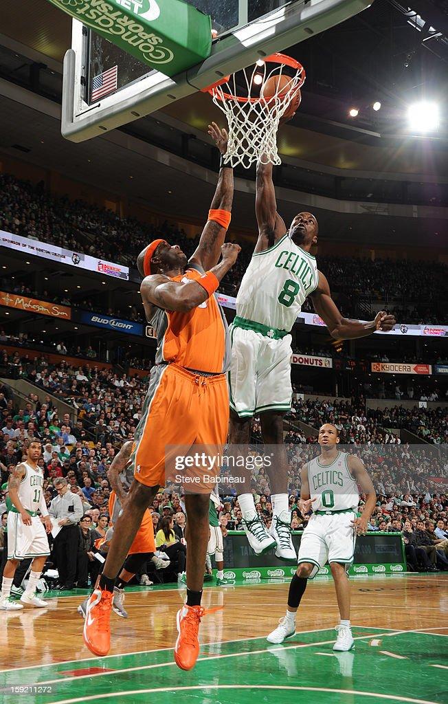 Jeff Green #8 of the Boston Celtics dunks the ball against the Phoenix Suns on January 9, 2013 at the TD Garden in Boston, Massachusetts.