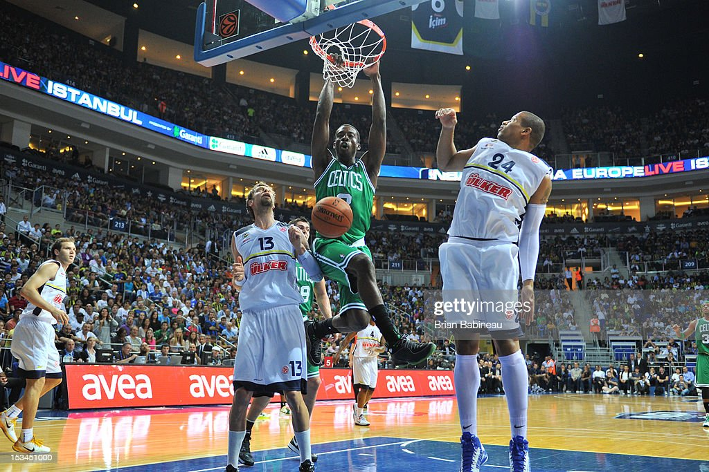 Jeff Green #8 of the Boston Celtics dunks the ball against the Fenerbahce Ulker on October 5, 2012 at the Ulker Sports Arena in Istanbul, Asia.