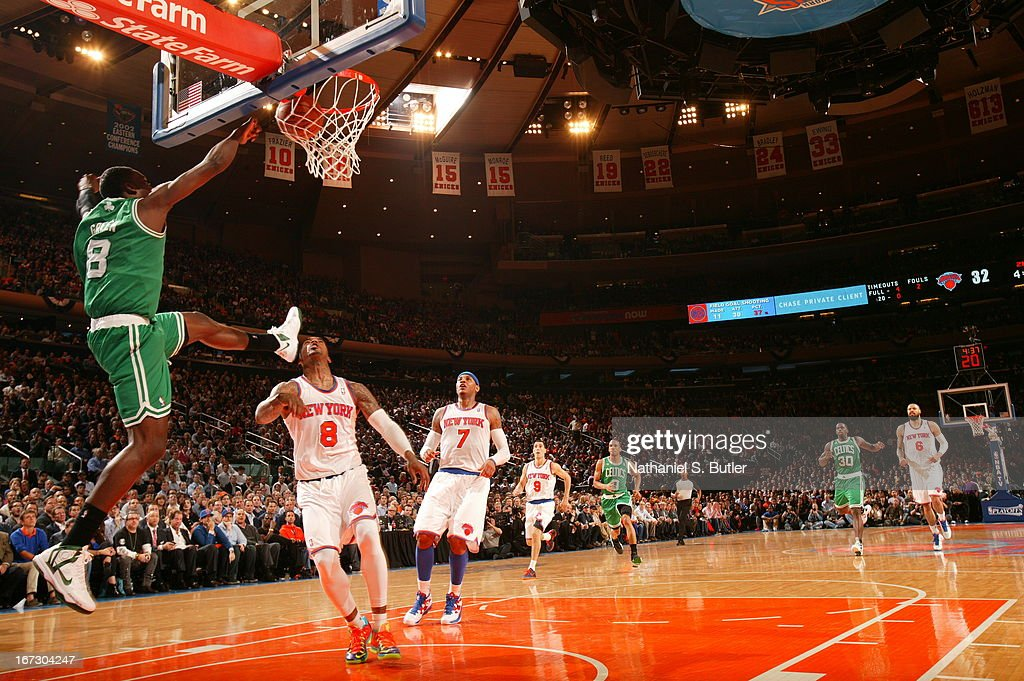 Jeff Green #8 of the Boston Celtics finishes the Alley-oop dunk against the New York Knicks in Game Two of the Eastern Conference Quarterfinals during the 2013 NBA Playoffs on April 23, 2013 at Madison Square Garden in New York City.