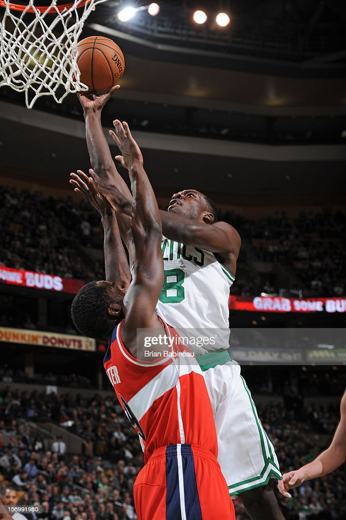 Jeff Green #8 of the Boston Celtics goes to the basket against Martell Webster #9 of the Washington Wizards on November 7, 2012 at the TD Garden in Boston, Massachusetts.