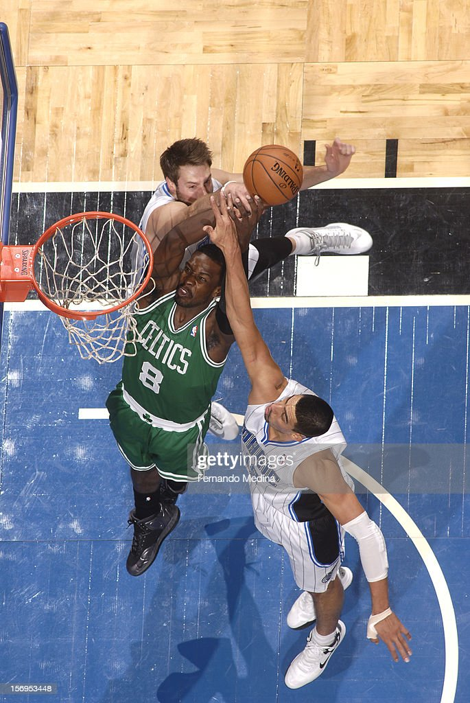 Jeff Green #8 of the Boston Celtics goes to the basket during the game between the Boston Celtics and the Orlando Magic on November 25, 2012 at Amway Center in Orlando, Florida.
