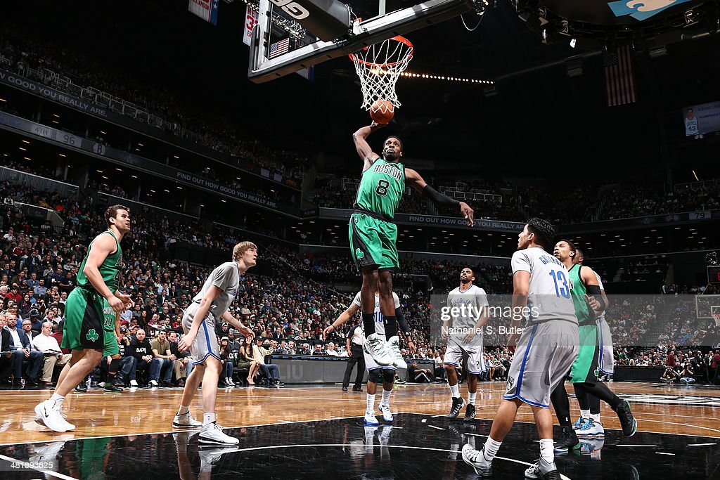 Jeff Green #8 of the Boston Celtics goes up for a dunk against the Brooklyn Nets at the Barclays Center on March 21, 2014 in the Brooklyn borough of New York City.