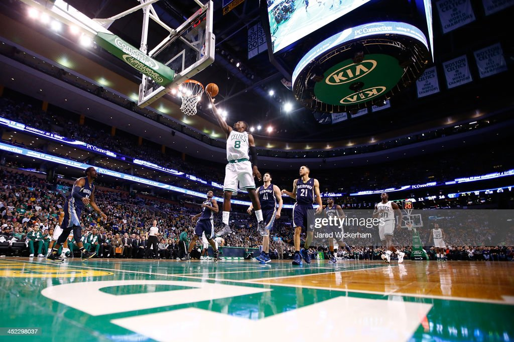 Jeff Green #8 of the Boston Celtics goes up for a layup in the first quarter against the Memphis Grizzlies during the game at TD Garden on November 27, 2013 in Boston, Massachusetts.