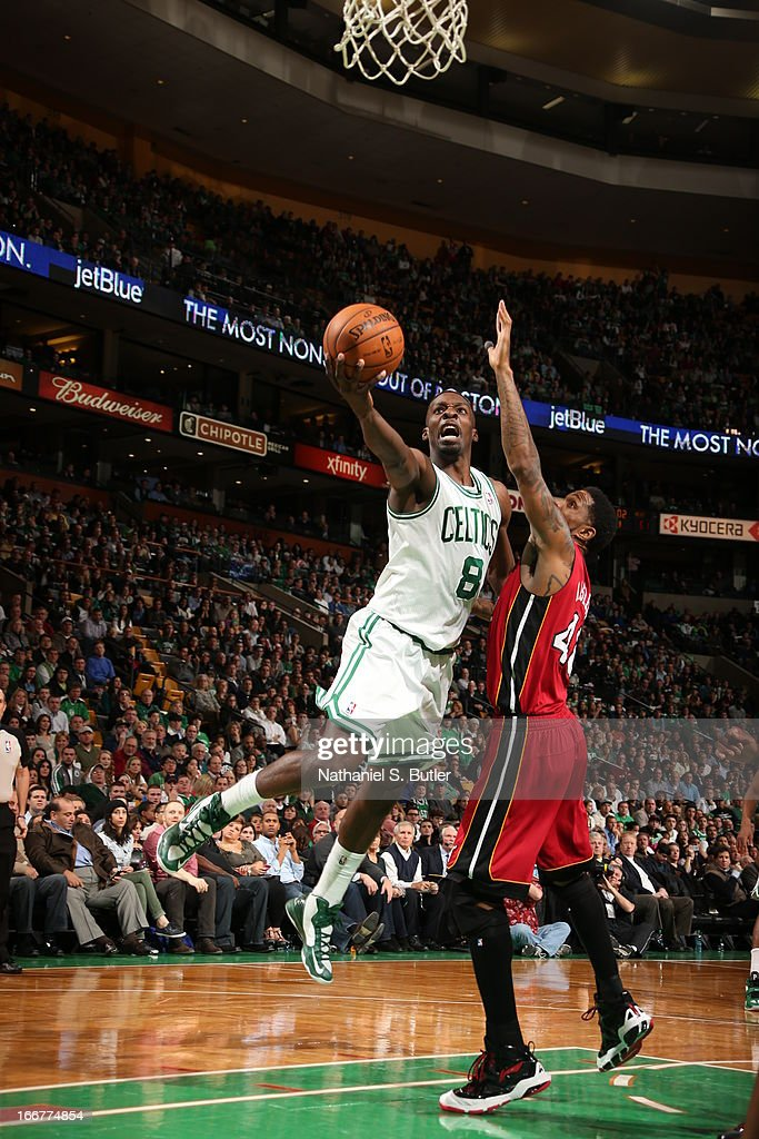 Jeff Green #8 of the Boston Celtics goes up to the rim against the Miami Heat during a game on March 18, 2013 at TD Garden in Boston, Massachusetts.