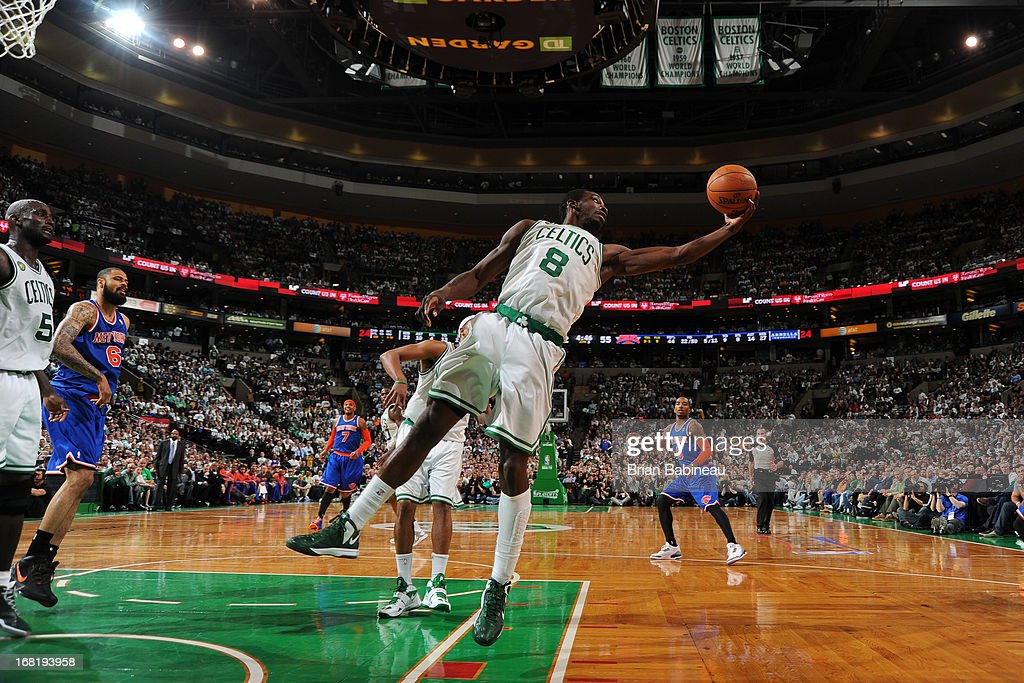 Jeff Green #8 of the Boston Celtics grabs a rebound against the New York Knicks in Game Six of the Eastern Conference Quarterfinals during the NBA Playoffs on May 3, 2013 at the TD Garden in Boston, Massachusetts.
