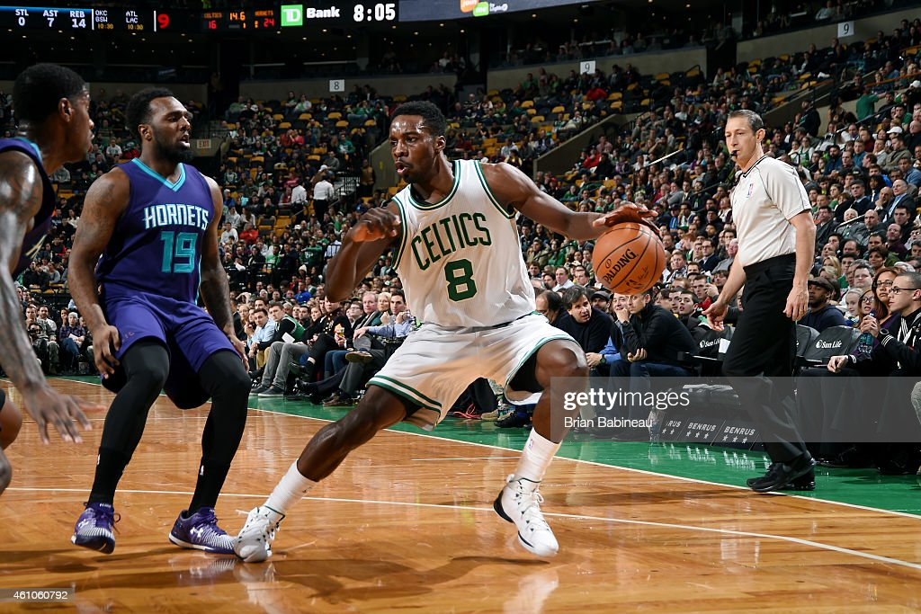 <a gi-track='captionPersonalityLinkClicked' href=/galleries/search?phrase=Jeff+Green+-+Basketball&family=editorial&specificpeople=4218745 ng-click='$event.stopPropagation()'>Jeff Green</a> #8 of the Boston Celtics handles the ball against the Charlotte Hornets on January 5, 2015 at the TD Garden in Boston, Massachusetts.