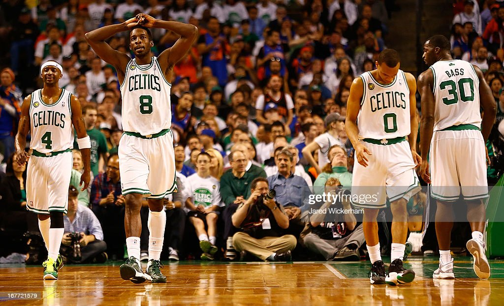 Jeff Green #8 of the Boston Celtics holds his hands over his head next to teammate Jason Terry #4 of the Boston Celtics following a foul call against the New York Knicks during Game Four of the Eastern Conference Quarterfinals of the 2013 NBA Playoffs on April 28, 2013 at TD Garden in Boston, Massachusetts.