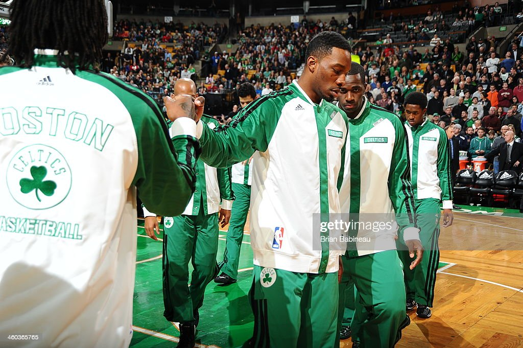 Jeff Green #8 of the Boston Celtics is introduced before the game against the Cleveland Cavaliers on November 29, 2013 at the TD Garden in Boston, Massachusetts.